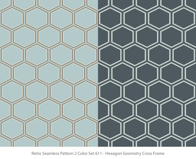 Satz nahtlose muster mit hexagon geometry frame