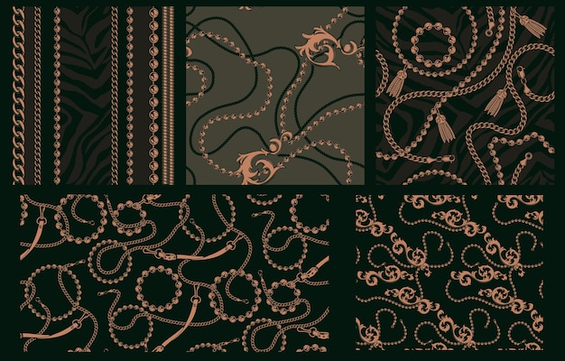 Satz nahtlose muster mit ketten. jedes muster befindet sich in einer separaten gruppe. ideal für den textildruck.