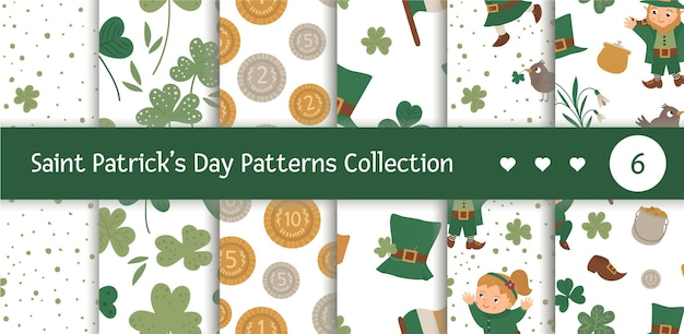 Satz nahtlose muster mit saint patrick day symbolen. wiederholter hintergrund des irischen nationalfeiertags. netter lustiger kobold.