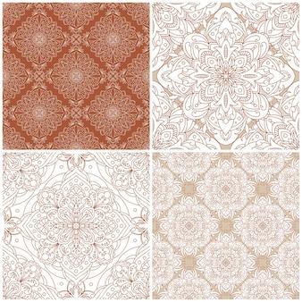 Satz nahtlose muster. vintage damastverzierung. dekorativer hintergrund. ideal für jedes design.