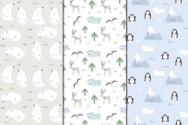 Satz nahtlose muster von alaska. natur und tiere, eskimos. scandi-stil
