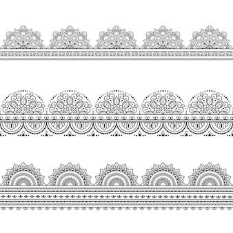 Satz nahtlose ränder. dekoration im ethnisch orientalischen, indischen stil. gekritzelverzierung. umriss handzeichnung illustration.