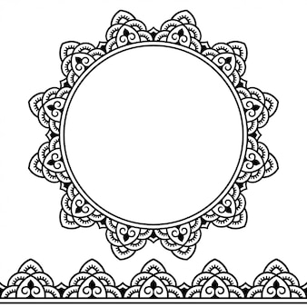 Satz nahtlose ränder und kreisförmige verzierung in form eines rahmens für design, anwendung von henna, mehndi, tätowierung und druck. dekoratives muster im ethnisch orientalischen stil.