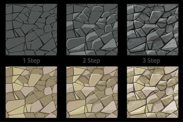 Satz nahtlose textur stein schritt für schritt zeichnung.