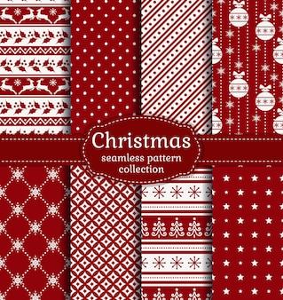Satz nahtlose weihnachtshintergründe mit traditionellen symbolen und abstrakten mustern