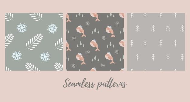 Satz nahtlose weihnachtsmuster mit babywal
