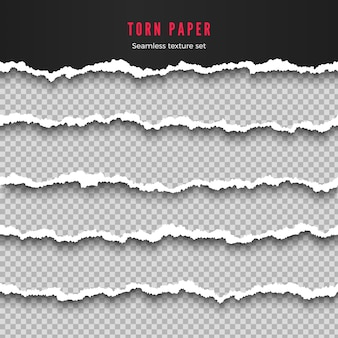 Satz nahtlose zerrissene papierrandstreifenillustration
