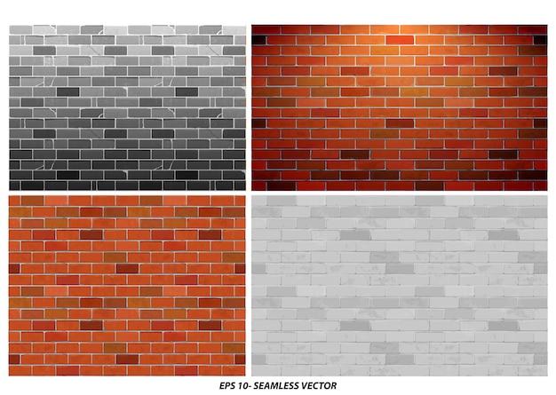 Satz nahtloser backsteinmauer texturiert mit grunge-stil-konzept-eps-vektor
