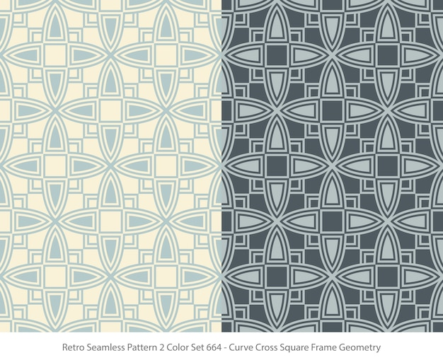 Satz nahtloser muster mit curve square frame geometry