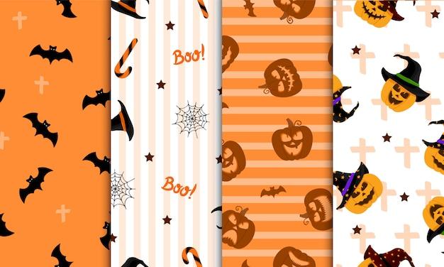 Satz nahtloses halloween-muster. für geschenkpapier, einladungen, webdesign.