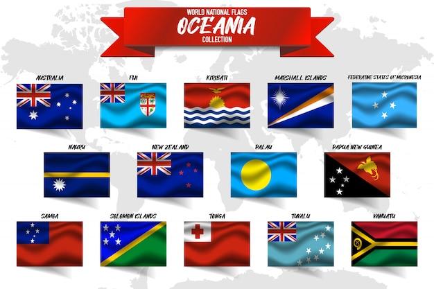 Satz nationalflagge des ozeanienlandes auf weltkartenhintergrund.