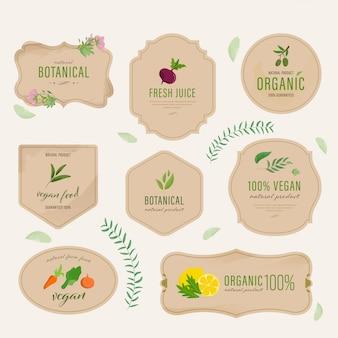 Satz natürlicher aufkleber und organische tags des strengen vegetariers. bewirtschaften sie die neue gezeichnete eco weinlese aufkleber-sammlungsaquarellhand.