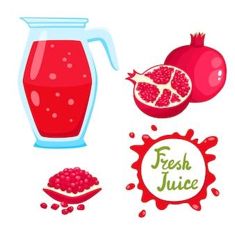 Satz natürlicher frischer granatapfelsaft im glas und in den früchten isoliert
