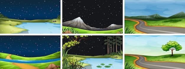 Satz natürlicher landschaftshintergrund