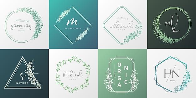 Satz natürliches und organisches logo für branding, corporate identity, verpackung und visitenkarte.