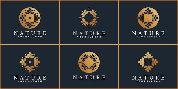 Satz naturlogo-designschablone mit kreativem stil und visitenkartendesign premium-vektor