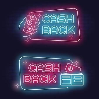 Satz neon-cashback-zeichen