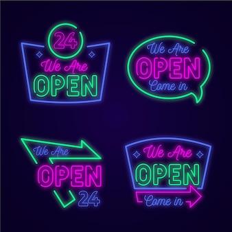Satz neonlichter mit uns sind offene schilder