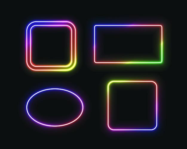 Satz neonrahmen