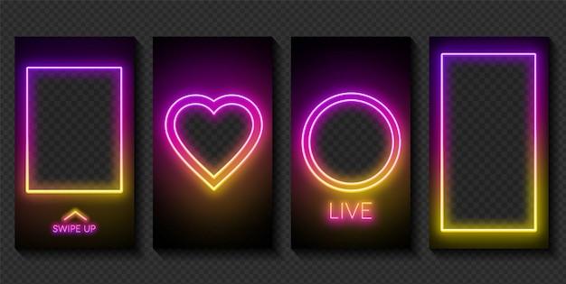 Satz neonvorlagen für geschichten in sozialen netzwerken auf dunklem hintergrund. platz für ein foto oder video.