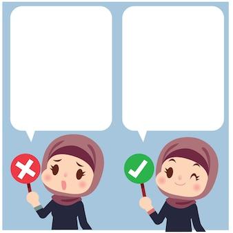 Satz nette arabische frauencharakter, der rechtes und falsches symbol hält