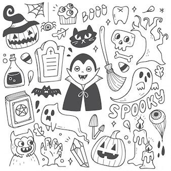 Satz nette halloween-gekritzel