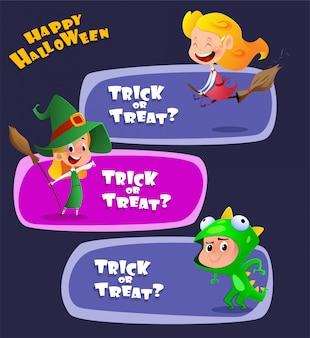 Satz nette kinder, die halloween-kostüme tragen