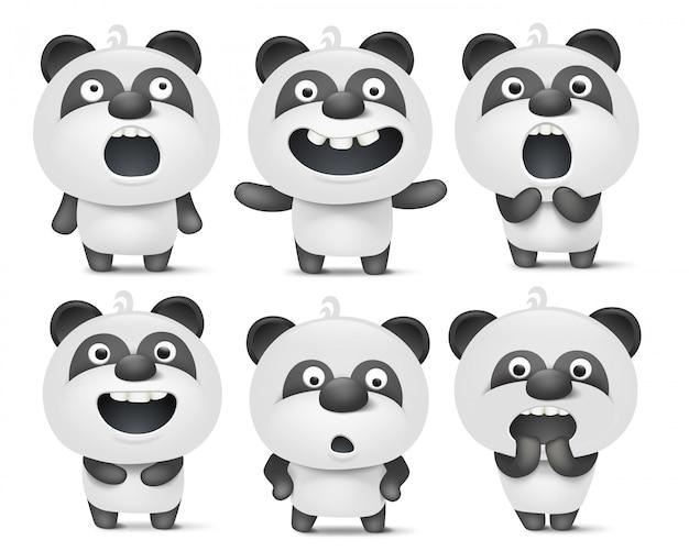 Satz nette pandazeichentrickfilm-figuren mit verschiedenen gefühlen