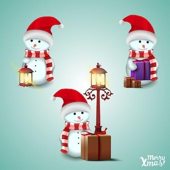 Satz nette schneemänner in sankt hut- und weihnachtsgeschenken