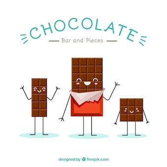 Satz nette schokoladenkarikaturen