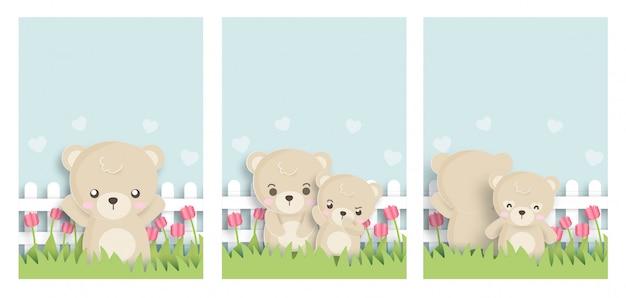 Satz nette tierkarten mit teddybären in der papierschnittart.