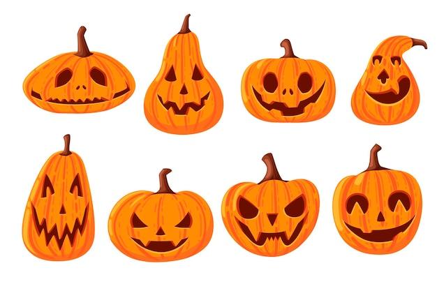 Satz nette und beängstigende halloween-kürbisse mit der flachen vektorillustration des gesichterkarikaturgemüses lokalisiert auf weißem hintergrund.