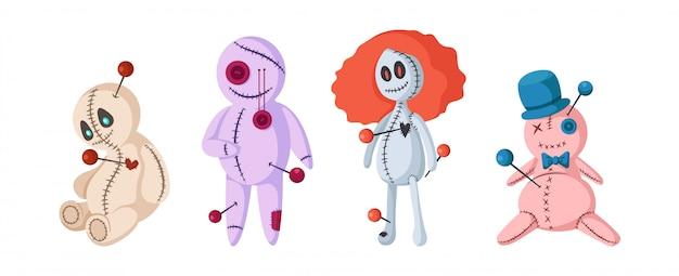 Satz nette voodoopuppen für halloween, lokalisiertes vektormagiespielzeug auf weiß