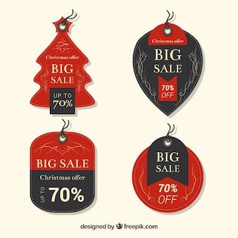 Satz nette weihnachtsaufkleber für verkauf