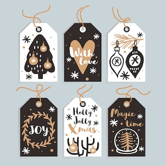 Satz nette weihnachtsgeschenkumbauten und -karten