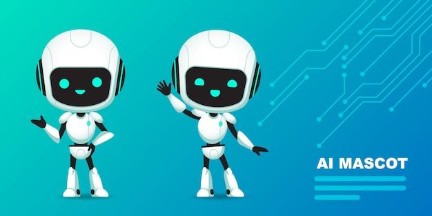 Satz netten roboter-ai-charakters mit stromkreishintergrund