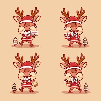 Satz nettes rentiermädchen, das weihnachten feiert. eislaufen, geschenk halten und text der frohen weihnachten. kawaii cartoon-vektor