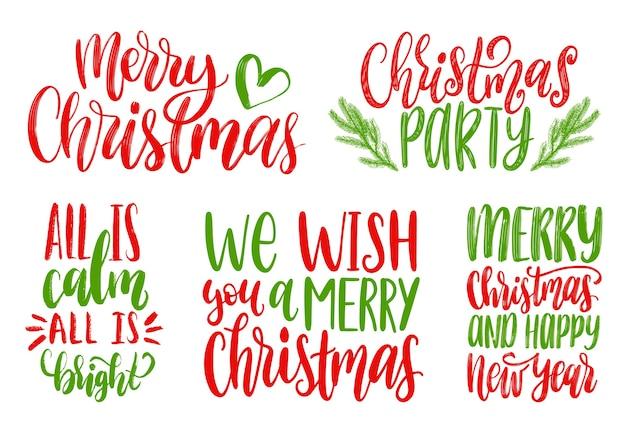 Satz neujahrshandbeschriftung. weihnachten kalligraphische illustrationen. frohe feiertagskonzepte.