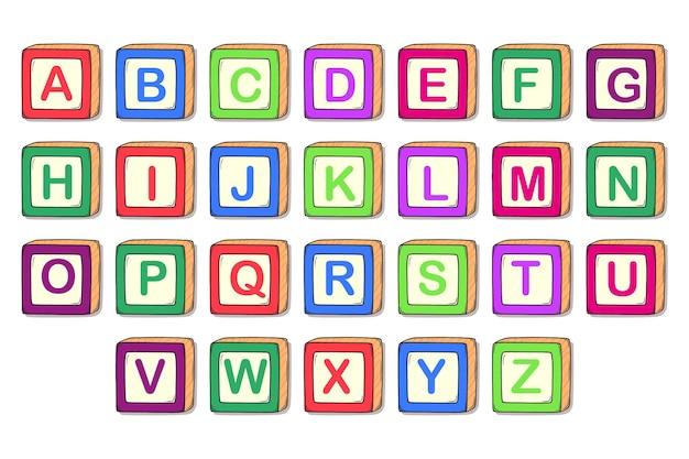 Satz niedliche alphabetblöcke