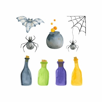 Satz niedliche aquarellillustrationen, trank, spinnen, fledermaus. halloween-aquarellillustration lokalisiert auf weißem hintergrund