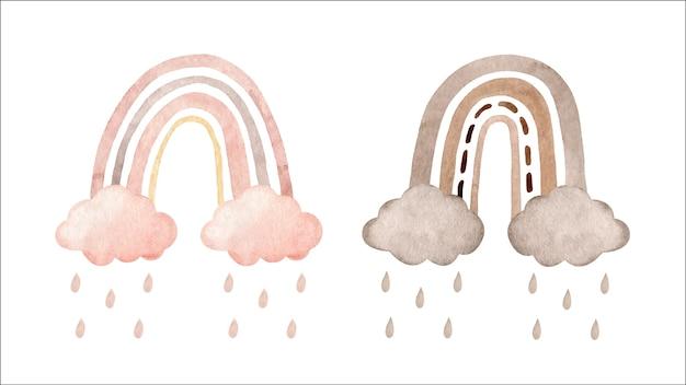 Satz niedliche aquarellregenbögen mit wolken und regen in den pastellfarben lokalisiert auf weißem hintergrund