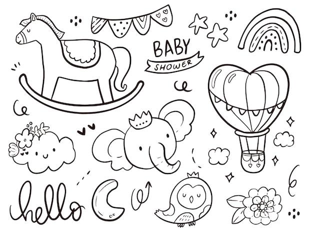 Satz niedliche babyparty mit einhorn-gekritzelkarikaturzeichnung