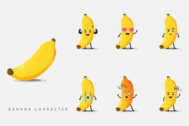 Satz niedliche bananenzeichen