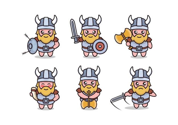 Satz niedliche barbarische wikinger-maskottchen-designillustration mit weißem hintergrund