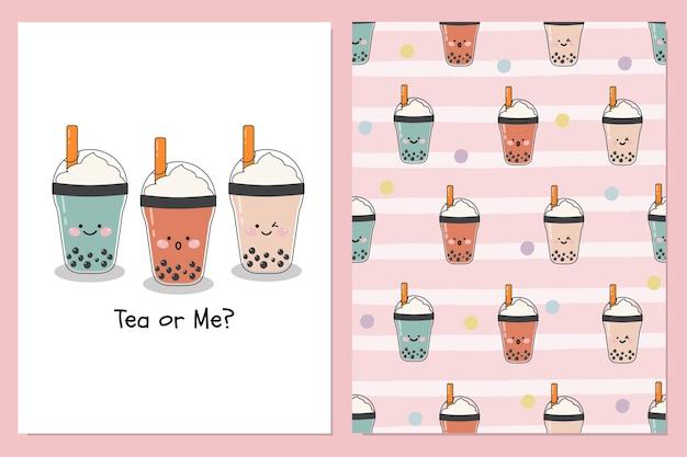 Satz niedliche bubble-milch-eistees mit schlagsahne-belag mit nahtlosem illustrationsmusterhintergrund