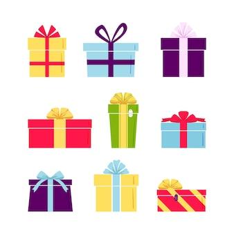 Satz niedliche bunte geschenkboxen Premium Vektoren