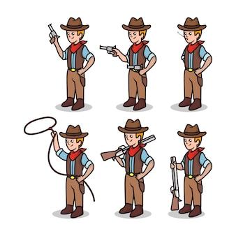 Satz niedliche cowboy-wild-west-sheriff-maskottchenillustration