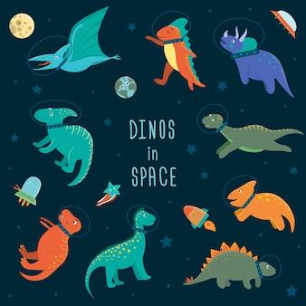 Satz niedliche dinosaurier im weltraum. lustiger flacher kosmischer dino-charakterhintergrund. niedliche prähistorische reptilienillustration