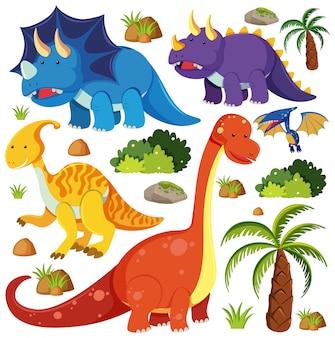 Satz niedliche dinosaurier lokalisiert auf weißem hintergrund