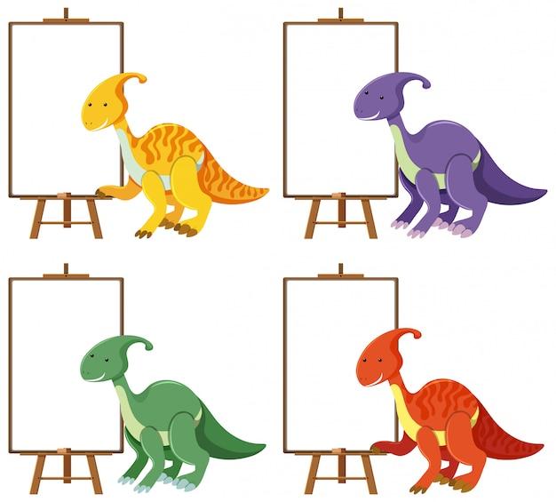 Satz niedliche dinosaurier mit leeren fahnen lokalisiert auf weißem hintergrund